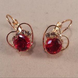 Gold Ruby Red Heart Czech Crystal Earrings